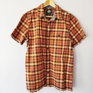 Roots men's orange and yellow plaid shirt